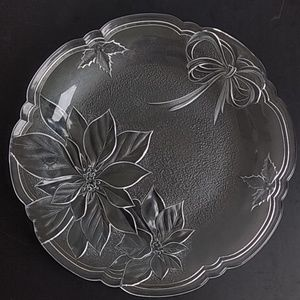 """Other - 15"""" Glass Holiday Christmas Platter w/Pointsettias"""